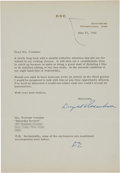 Autographs:U.S. Presidents, Dwight D. Eisenhower Typed Letter Signed to Norman Cousins....