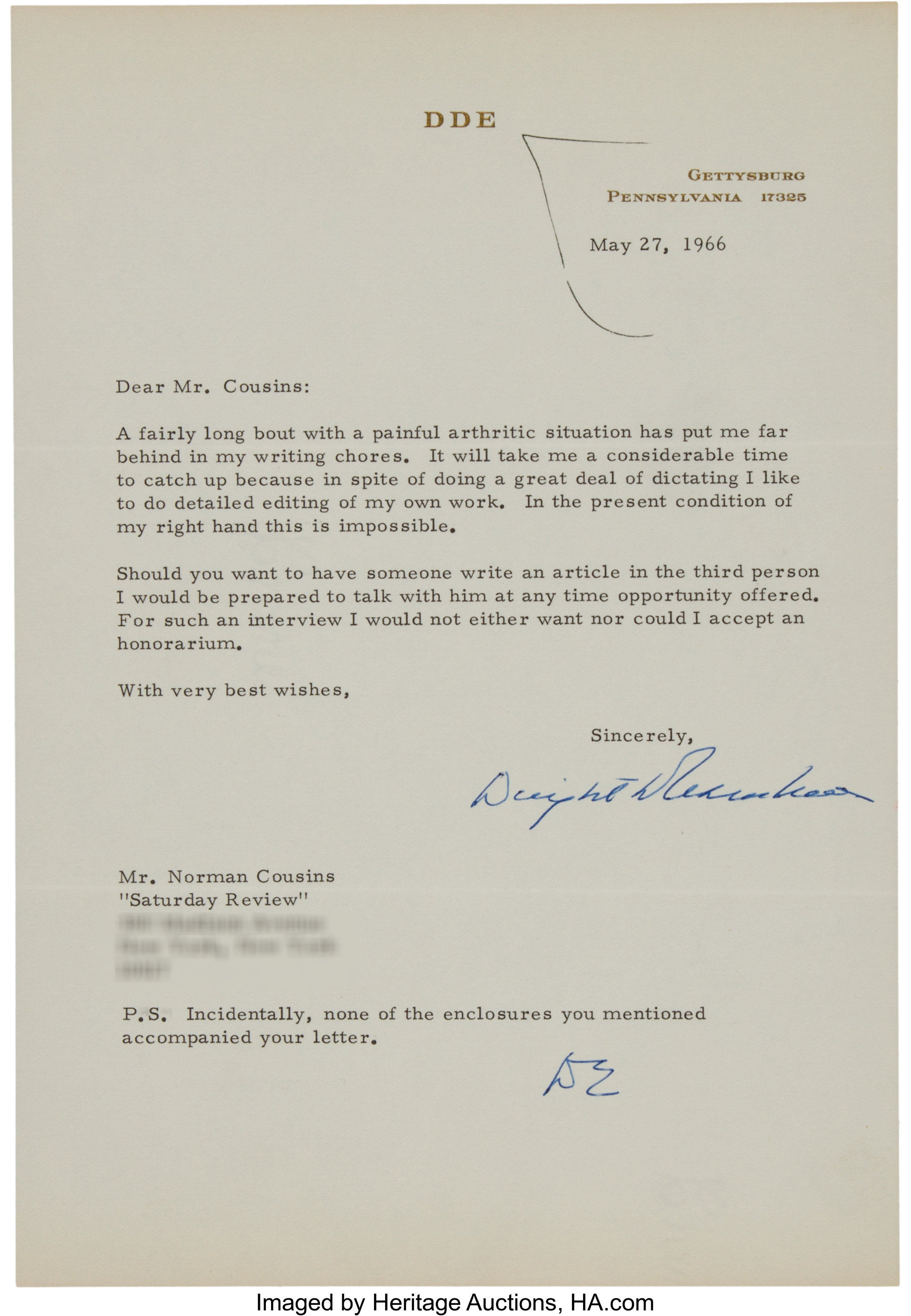 Dwight D  Eisenhower Typed Letter Signed to Norman Cousins