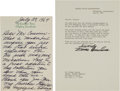 Autographs:U.S. Presidents, Mamie Eisenhower Autograph Letter Signed and Typed LetterSigned....