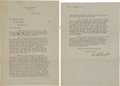 Autographs:Inventors, Orville Wright Typed Letter Signed,...