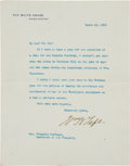 Autographs:U.S. Presidents, William H. Taft Typed Letter Signed...