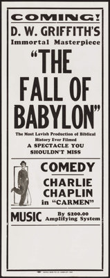 The Fall of Babylon/Charlie Chaplin in Carmen Combo (David W. Griffith Corp., R-1920s). Identical Broadsides (5) (11&quo...
