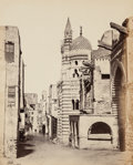 Photographs:Albumen, Francis Frith (British, 1822-1898). Street View in Cairo, 1858. Albumen. 19 x 15-1/4 inches (48.3 x 38.7 cm). Signed and...