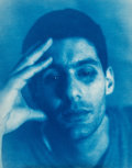 Photographs:Cyanotype, John Dugdale (American, b. 1960). Self Portrait with BlackEye, 1996. Cyanotype. 9-1/4 x 7-1/8 inches (23.5 x 18.1 cm)....