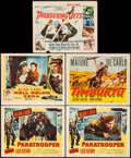 "Movie Posters:War, Paratrooper & Others Lot (Columbia, 1953). Lobby Cards (3)& Title Lobby Cards (2) (11"" X 14""). War.. ... (Total: 5 Items)"