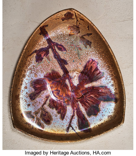 Lucien Lévy-Dhurmer (French, 1865-1953)Floral Charger, circa 1895Flambe glazed earthenware20-1/4 h x 18-1/2 w x 5-...