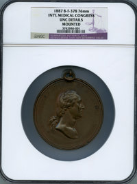 1887 International Medical Congress Medal, Baker F-378, Musante GW-1038 -- Mounted -- NGC Details. Unc. Bronze, 76 mm, p...