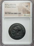Ancients:Greek, Ancients: SICILY. Syracuse. Time of Dionysius I (405-367 BC). AEdrachm or dilitron. NGC XF, scuff....