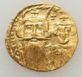 Ancients:Byzantine, Ancients: Constans II Pogonatus (AD 641-668), with Constantine IV,Heraclius and Tiberius. AV solidus (4.37 gm). XF, clipped,graffito....