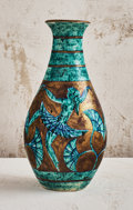 Ceramics & Porcelain, Edouard Cazaux (French, 1889-1974). Turquoise Vase with Dancers, circa 1940. Lustre glazed stoneware. 14-7/8 inches high...