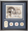 Autographs:Photos, Joe DiMaggio Signed Photo Display with Piece of Game Used Bat. ...