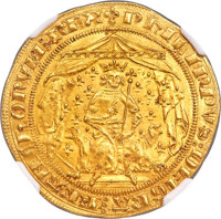 France: Phillippe VI (1328-1350) gold Pavillon d'or MS64 NGC