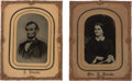 Political:Memorial (1800-present), Abraham and Mary Todd Lincoln: A Superb Pair of Large Tintype Photos in Original Mats and Frames. ...