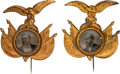 Political:Ferrotypes / Photo Badges (pre-1896), James A. Garfield and Winfield S. Hancock: A Pristine, PerfectlyMatched Pair of Ornate 1880 Ferrotype Pins. ...