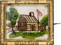 Political:Miscellaneous Political, William Henry Harrison: An Unimprovable Hand-painted 1840 Brooch with Log Cabin, Cider Barrel, and Flag. ...