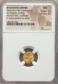 Ancients:Byzantine, Ancients: Heraclius (AD 610-641) & Heraclius Constantine (AD613-641). AV solidus (4.49 gm). NGC MS 3/5 - 5/5. ...
