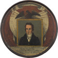 Political:3D & Other Display (pre-1896), Henry Clay: Magnificent Full Color 1844 Papier Mâché Snuff Box. ...