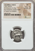 Ancients:Greek, Ancients: CALABRIA. Tarentum. Ca. 272-240 BC. AR stater or didrachm(6.35 gm). NGC XF 5/5 - 4/5. ...