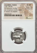 Ancients:Greek, Ancients: CALABRIA. Tarentum. Ca. 272-240 BC. AR stater or didrachm(6.49 gm). NGC Choice XF 4/5 - 4/5. ...
