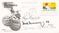 Baseball Collectibles:Others, 1969 Mize, Maris, Greenberg and Mantle Multi-Signed First Day Cover....