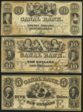 Obsoletes By State:Louisiana, New Orleans, LA- New Orleans Canal and Banking Company $5; $10; 20 18__ Remainders. ... (Total: 3 notes)