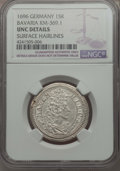 German States:Bavaria, German States: Bavaria. Maximilian II Emanuel 15 Kreuzer 1696 UNCDetails (Surface Hairlines) NGC,...