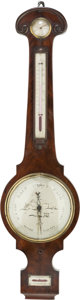 Decorative Arts, British:Other , An English Regency Mahogany Banjo Barometer, 19th century. Marks:A MONTI, CANTERBURY. 36-1/2 inches high x 10 inches wi...