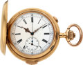 Timepieces:Pocket (post 1900), Swiss Large 18k Gold Minute Repeater With Chronograph, circa 1905....