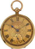 Timepieces:Pocket (pre 1900) , Swiss 18k Gold Lever Fusee, circa 1850. ...