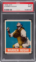 Baseball Cards:Singles (1940-1949), 1948 Leaf Warren Rosar #128 PSA Mint 9 - The Ultimate PSA Example! ...