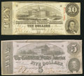 Confederate Notes:Group Lots, T53 $5 1862 PF-2 Cr. 382;. T59 $10 1863 PF-26 Cr. 443.. ... (Total:2 notes)