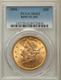 Liberty Double Eagles, 1896 $20 Repunched Date, FS-301, MS62 PCGS. PCGS Population: (36/43). NGC Census: (35/44). MS62. ...