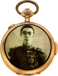 Timepieces:Pocket (post 1900), Volta 18k Gold Quarter Hour Repeater With Chronograph & Emperors Portrait, circa 1900. ...