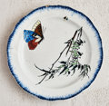 Ceramics & Porcelain, Félix Bracquemond (French, 1833-1914). Butterfly Plate from the Rousseau Service, 1867. Enameled earthenware. 5-5/8 ...