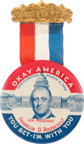 Political:Inaugural (1789-present), Franklin D. Roosevelt: Popular Inauguration Button....
