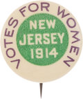 Political:Pinback Buttons (1896-present), Woman's Suffrage: Rare New Jersey Button....