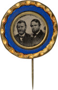 Political:Ferrotypes / Photo Badges (pre-1896), Grant & Colfax: Unlisted Ferrotype Jugate Stickpin....