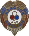 Political:Ferrotypes / Photo Badges (pre-1896), Winfield Scott Hancock: Enamel 2nd Corps Badge....