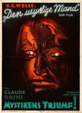 "Movie Posters:Horror, The Invisible Man (Universal, 1933). Danish One Sheet (24.5"" X33.5"").. ..."