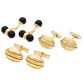 Estate Jewelry:Brooches - Pins, Black Onyx, Platinum, Gold Cuff Links. ... (Total: 3 Items)