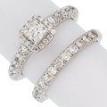 Estate Jewelry:Rings, Diamond, White Gold Ring Set, Tolkowsky. ... (Total: 2 Items)