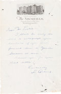 Baseball Collectibles:Others, Early 1930's Lou Gehrig Handwritten Signed Letter....