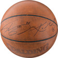 Basketball Collectibles:Balls, 2000's Kobe Bryant and Shaquille O'Neal Signed Leather NBA...