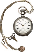 Timepieces:Pocket (pre 1900) , I. Boger's Rail Road Watch No. 1 Nashville Tenn. Massive PrototypeSilver Watch With Chain, circa 1880. ...
