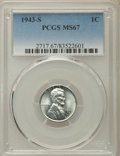 Lincoln Cents: , 1943-S 1C MS67 PCGS. PCGS Population: (1879/65). NGC Census: (2216/17). CDN: $160 Whsle. Bid for problem-free NGC/PCGS MS67...