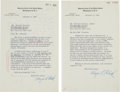 Autographs:Statesmen, Supreme Court Associate Justice Hugo Black Typed Letters (2)Signed.... (Total: 3 Items)