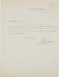 Autographs:Authors, John Dos Passos Typed Letter Signed....
