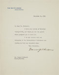 Autographs:U.S. Presidents, Warren G. Harding Typed Letter Signed as President....