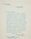 Autographs:U.S. Presidents, William H. Taft Typed Letter Signed as President....