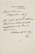 Autographs:U.S. Presidents, William McKinley Autograph Note Signed as President. ...